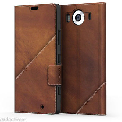 Mozo Leather Thin Flip Cover for Microsoft Lumia 950 - Cognac Brown - 950TFC
