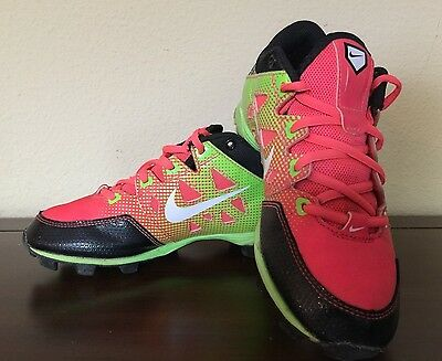 Nike Hyper Diamond Pink & Green Girl's Softball Cleats Shoes Youth Size 2.5