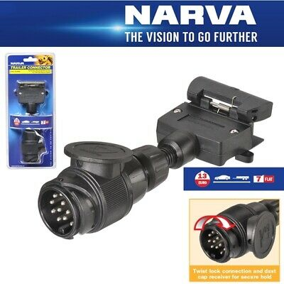 Narva Trailer Adaptor 13 Pin Euro Round Socket on Car to 7 Pin Flat Plug on Trai