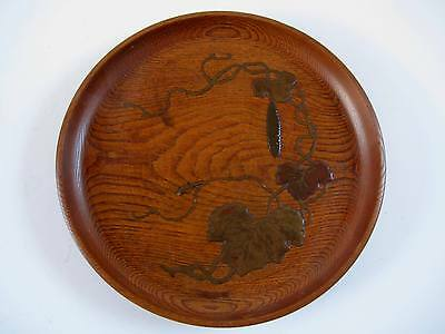 Attractive Antique Japanese Elm Wood Tray Lacquered Botanical Decoration