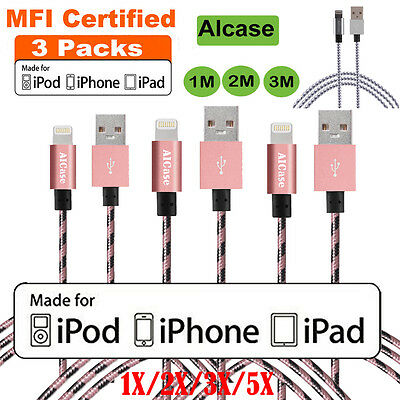 IPHONE 6S 7 8 MFI Certified LIGHTNING CHARGER NYLON BRAIDED DATA SYNC CABLE LOT