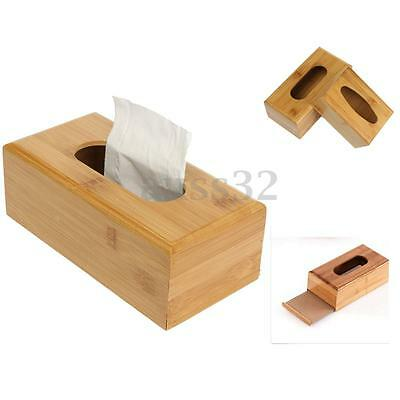 Natural Solid Bamboo Tissue Box Case Cover Holder Home Decor Storage Box S/L