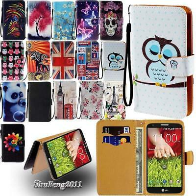 Leather Stand Flip Wallet Cover Phone Case For Various LG SmartPhones + Strap