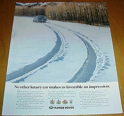 1991 Range Rover Car 1 Page Ad Tire Tracks in Snow Forest #032217