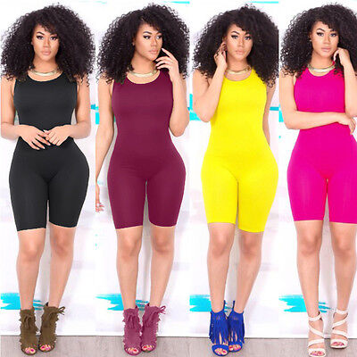 US WomenS Casual Sleeveless Bodycon Romper Jumpsuit Club Bodysuit Short Pants