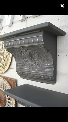 Antique  Reclaimed Repurposd Tin Ceiling Wall Shelf Ornate  Set Of 2