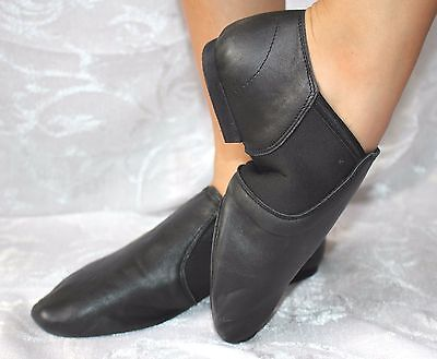 Jazz shoes split sole black leather slip on size 20.5 - 25.2cm new Free Delivery