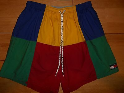90's Vintage Tommy Hilfiger Swim Trunks Colorblock Sz L Red Blue Yellow Green
