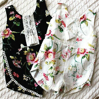 Newborn Toddler Baby Girl Lace Floral Romper Bodysuit Jumpsuit Outfits US Seller