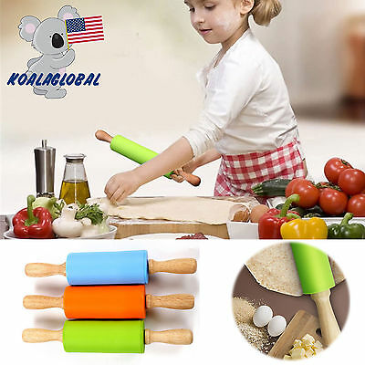 3 Colors Silicone Rolling Pins Dough Pastry Roller Wooden Handle Baking Tools