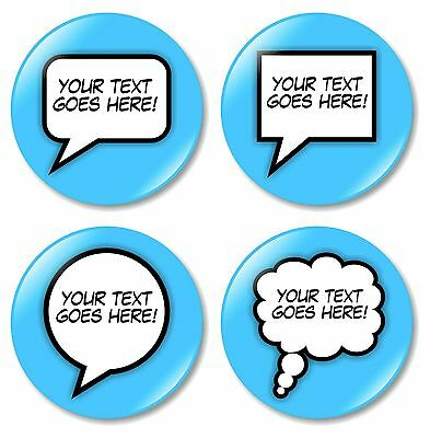 1 x Custom Comic Text 32mm BUTTON PIN BADGE Personalised Words Made To Order