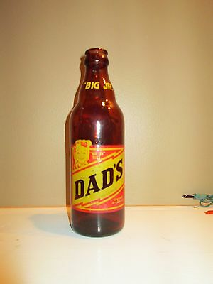 RARE DADS 10 oz BIG JR RED LABEL ROOT BEER SODA BOTTLE 1953 GLASS