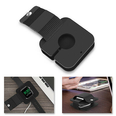 Silicone Charge Secure Holder Dock Protect Wallet Case for Apple Watch 38mm 42mm