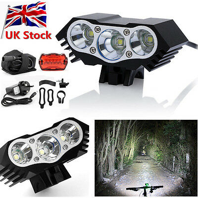 8000Lm 2/3 CREE XML T6 LED Front Headlamp Bicycle Bike Light Torch Headlight UK