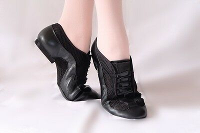Jazz dance shoes stream split sole black breathable mesh 22.8-24cm new Free Ship