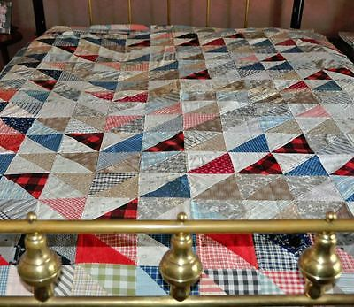 1900-20 Cheerful Tents Of Armageddon Antique Vintage Quilt Top – Red, Wh & Blue