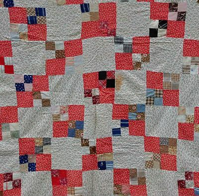 1880-1910 Lovely Double Four Patch Antique Vintage Quilt Top – Red & White.
