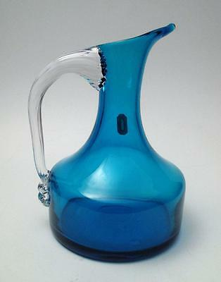 Vintage Whitefriars England Kingfisher Blue Art Glass Beak Jug #9718 With Label