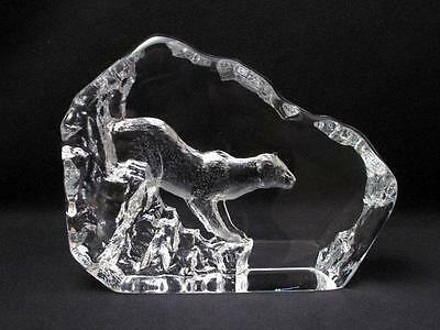 Huge Signed Mats Jonasson Sweden Lead Crystal Mountain Lion Cougar Cat Panther