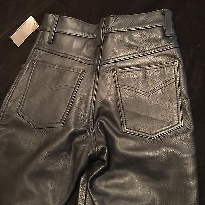 NWT ALTROM BLACK LEATHER ZIP FLY LINDED PANTS 24 x 32 NEW $149 FREE SHIPPING