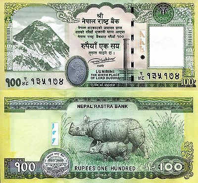 NEPAL 100 Rupees Banknote World Paper Money UNC Currency Pick p-New 2015 Rhino