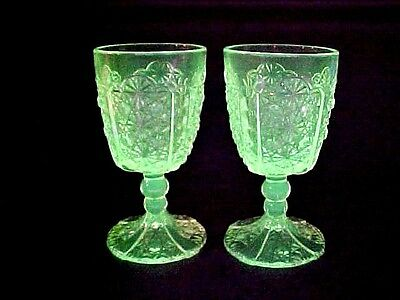 """Vintage VASELINE GLASS """"DAISY & BUTTON"""" Pair Water Goblets By L. G. Wright"""
