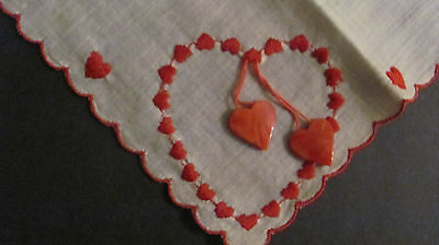 Vintage Embroidered Valentine 2 Red Bakelite? Hearts on White Cotton Hankie 11""