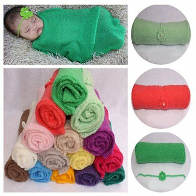 2PCS Newborn Baby Photography Photo Props Stretch Wrap Swaddle Blanket+Headband