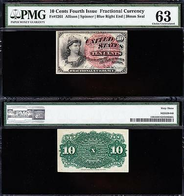 Awesome CHOICE UNCIRCULATED 4th Issue 10 cent Fractional! PMG 63! FREE SHIP TC25