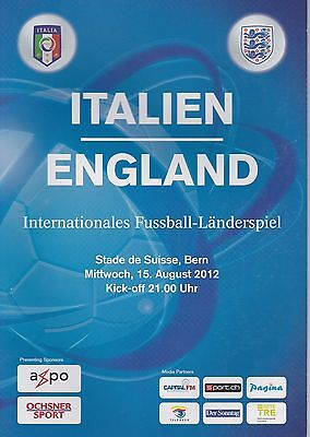 ITALY v ENGLAND ~ FRIENDLY PLAYED IN BERN ~ 15 AUGUST 2012 ~ SUPERB CONDITION