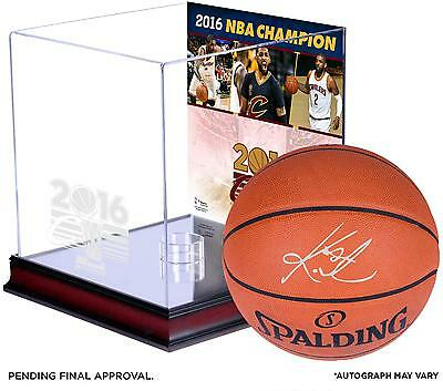 Kyrie Irving Cavaliers Signed Ball with '16 NBA Finals Champs Case with Collage