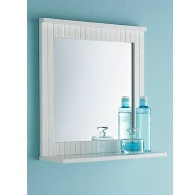 Maine New White Bathroom Wood Frame Mirror Wall Mounted with Cosmetics Shelf