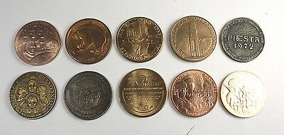 Lot Of (10)  Large  Vintage  Tokens, All Different