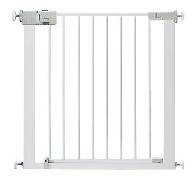 Stair Metal Gate Safety Baby Toddler Simply Close Door Pressure Fit DrillinWhite