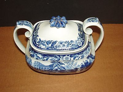 Antique Staffordshire Blue White Double Handled Covered Tureen Unknown Purpose