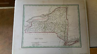 Early Antique 1835 New York & City Long Island Bradford Handcolored Map Canal Nr