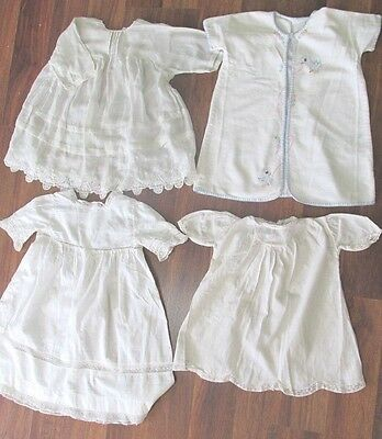 Childerns Vintage Clothing Collection Of 4 White Cotton Dresses