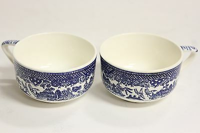 "Pair of Round Vintage Blue Willow Teacups Tea Coffee Cups Cup 3.7"" x 2"" ENGLAND"