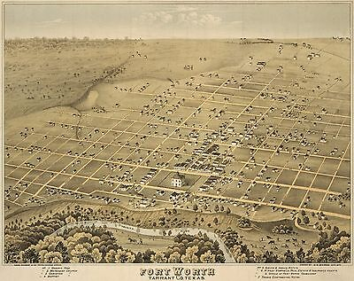 1876 Chas. Shober, Bird's Eye View Of Fort Worth Texas, Copy Poster Map