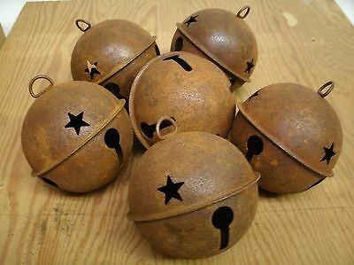 "Lot of 6 Rusty Jingle Bells LARGE 3.15"" Primitive Rustic Country crafting"