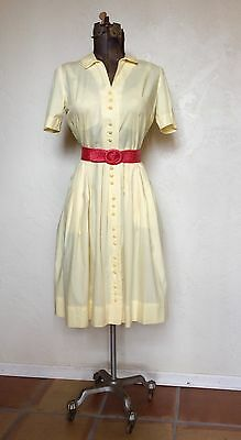 VINTAGE 1950's CLASSIC PALE YELLOW Shirtwaist DAY Dress M