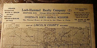 Medford WI Loeb-Hammel Lincoln County Antique LAND MAP