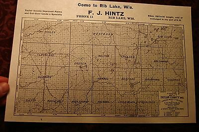 Antique Rib Lake Wisconsin F. J. Hintz  AD MAP