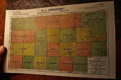 1916 Medford Wisconsin E. L. Urquhart Taylor County advertising MAP