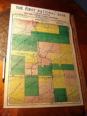 Antique Phillips Wisconsin Price County bank Advertising MAP