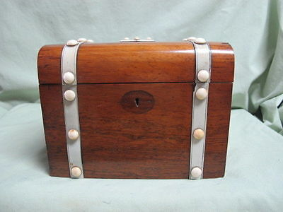 Antique Wooden Trunk Style Box  with white Decoration for Tea?