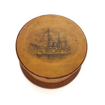 "Antique Mauchline Ware Thread Holder Sewing Box ~ Naval Ship ""USS Chicago"" 1885"