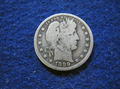 1899 O Barber Quarter - Abt VG - Scarcer Date/Mint - Free U S Shipping