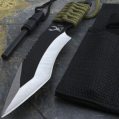 "7"" SURVIVAL FIXED BLADE FULL TANG KNIFE w/ FIRE STARTER Tactical Survival Flint"