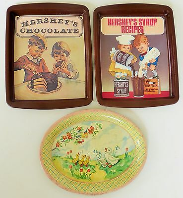 1982 Hershey's Food Chocolate & Syrup Recipes Metal Trays + Mama Duck Oval Tray